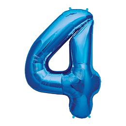 Globo 81Cm Numero 4 Azul 1 Uni