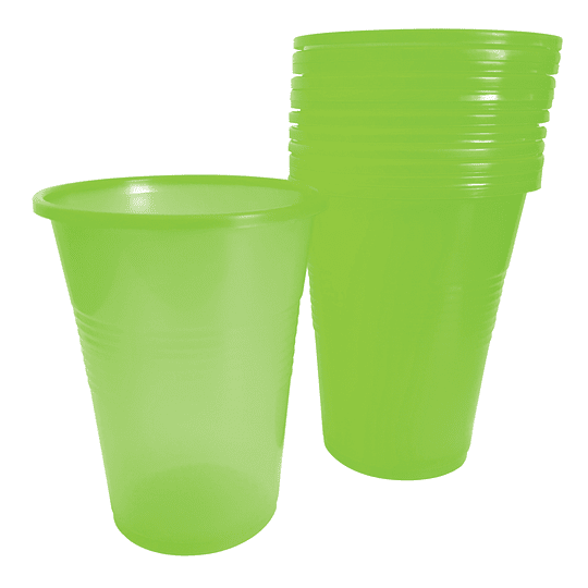 Vaso Plastico Verde Lima 300 Cc 50 Uni
