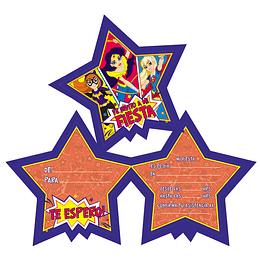 TARJETAS DE INVITACION DC SUPER HERO GIRLS 6 UNI