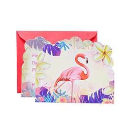 Tarjeta De Invitacion Flamingo 6 Uni