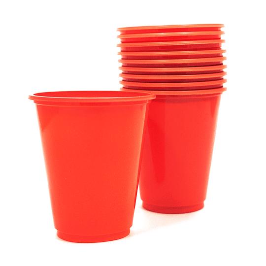 Vaso Plastico 230Cc Rojo 10 Uni
