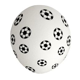 Globo #12 Liso Blanco Impreso Futbol 6 Uni