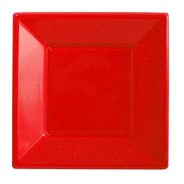 Plato Cuadrado Rojo 10 Uni