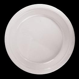 Plato Plastico 23 Cm Blanco 10 Uni