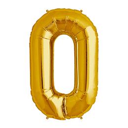 Globo 81Cm Numero 0 Dorado 1 Uni