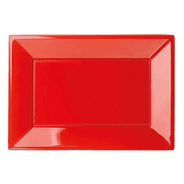 Bandeja Rectangular Roja 3 Uni