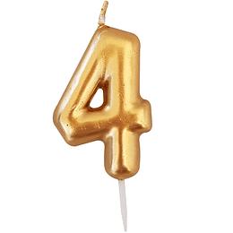 Vela Numero Dorada #4 1 Uni