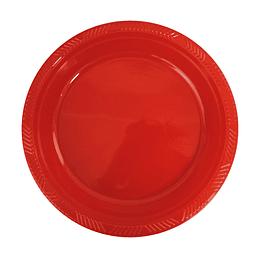 Plato Plastico 18 Cm Rojo 10 Uni