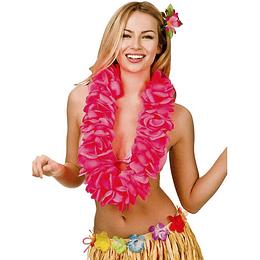 Collar Hawaiano Flor Fucsia Neon 1 Uni