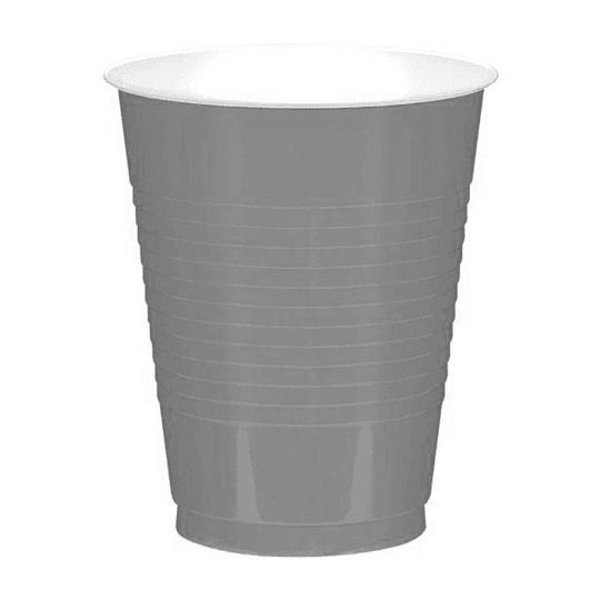 Vaso Plastico 480Ml Plateado Blanco 20 Uni