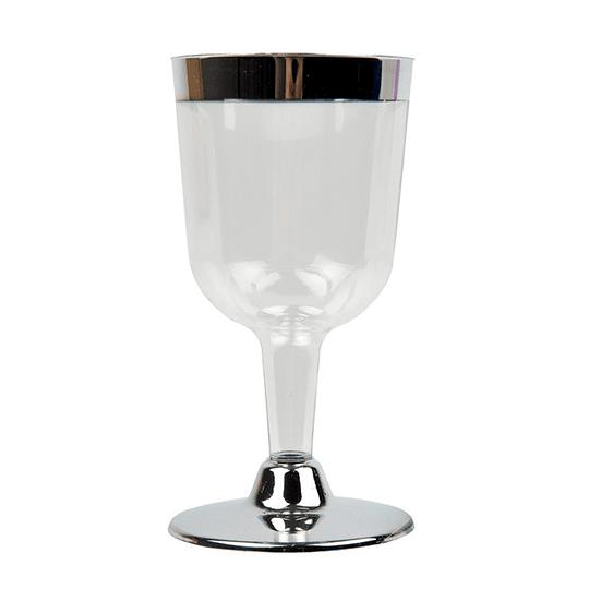 Copa Vino Plastica Trans Borde Metal 150 Ml 6 Uni