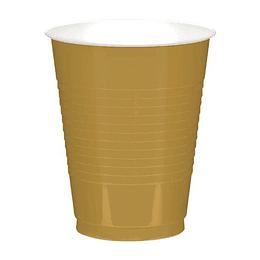 Vaso Plastico 480Ml Dorado Blanco 20 Uni