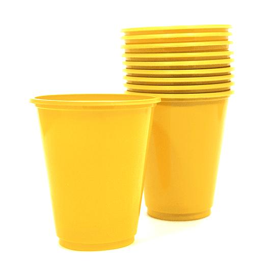 Vaso Plastico 230Cc Amarillo 10 Uni
