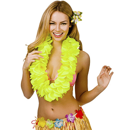 Collar Hawaiano Flor Amarilla Neon 1 Uni