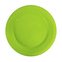 Plato Plastico 18 Cm Verde Lima 10 Uni