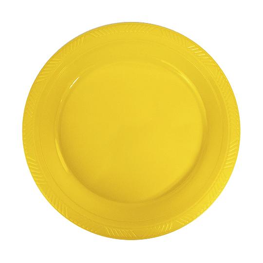 Plato Plastico 18 Cm Amarillo 10 Uni