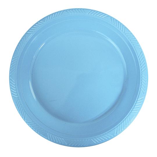 Plato Plastico 18 Cm Celeste 10 Uni