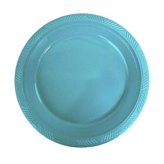 Plato Plastico 18 Cm Turquesa 10 Uni
