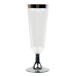 Copa Champagne Plastica Transp Borde Metal 6 Uni