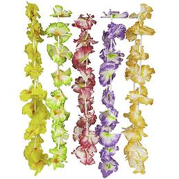 Collar Hawaiano Flor Color Con Blanco 1 Uni
