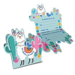 Tarjeta Invitacion Llama &Cactus 6 Uni