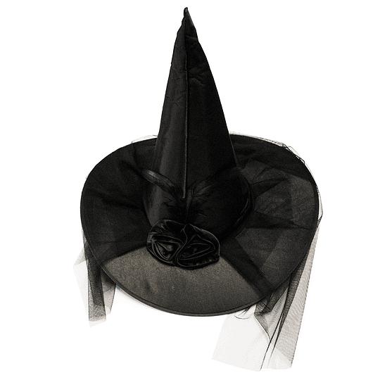 Sombrero Bruja Negro Pluma/Velo 1 Uni