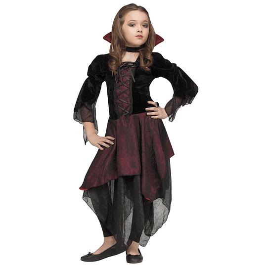Disfraz Largo Vampira Niña Talla 10-12 1 Uni