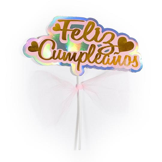 Pick Feliz Cumpleaños Con Cinta Dor/Ros 22X18,5 Cm 1 Uni