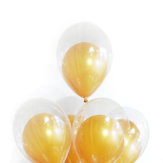 Globo Doble Transparente Dorado 12