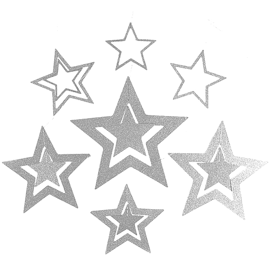 Guirnalda Estrellas Glitter Plateadas 7 Uni