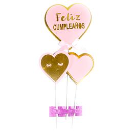 Picks Corazones Feliz Cumpleaños Rosa/Dor 22 Cm 3 Uni