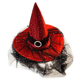 Sombrero Bruja Rojo Heb/Velo 1 Uni