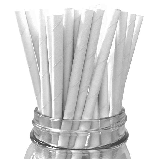 Bombilla Papel Blanco 24 Uni