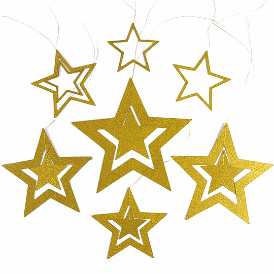 Guirnalda Estrellas Glitter Doradas 7 Uni
