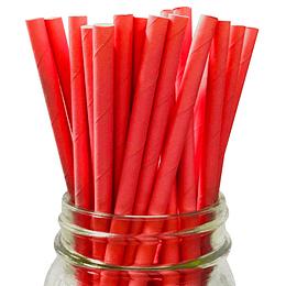 Bombilla Papel Rojo 24 Uni