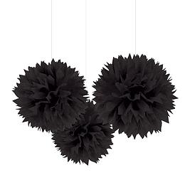 Pompones De Papel Negro 35 Cm 3 Uni