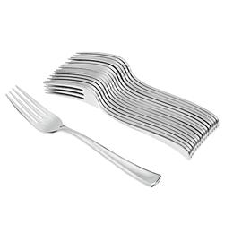 Tenedor Plastico Metalizado 12 Uni