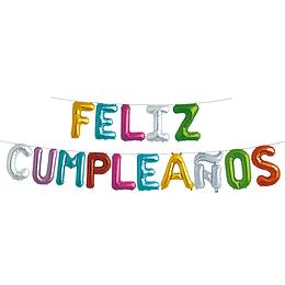 """Globo Letras Colores """"Feliz Cumpleaños"""" 1 Uni"""