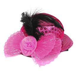 Mini Sombrero Lentejuela Con Pluma Colores 1 Uni