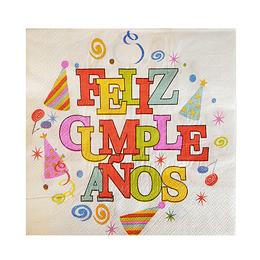 Servilleta Gorritos Feliz Cumpleaños 20 Uni