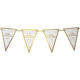 Guirnalda Banderines Dorados  Feliz Cumpleaños 1 Uni