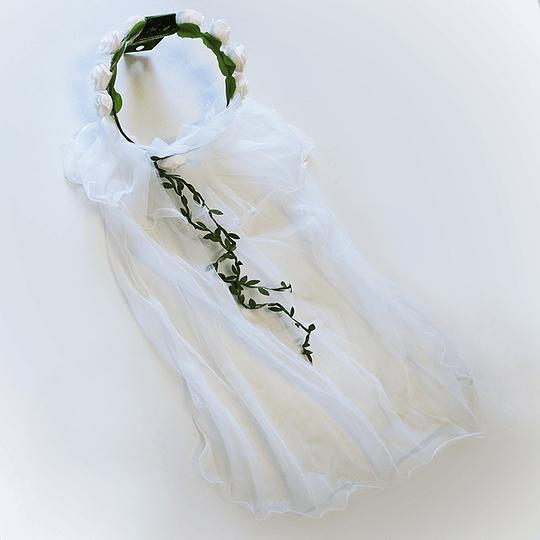 Cintillo Flores Blancas Y Velo 1 Uni