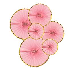 Set 6 Abanicos Dorado Rosado 1 Uni