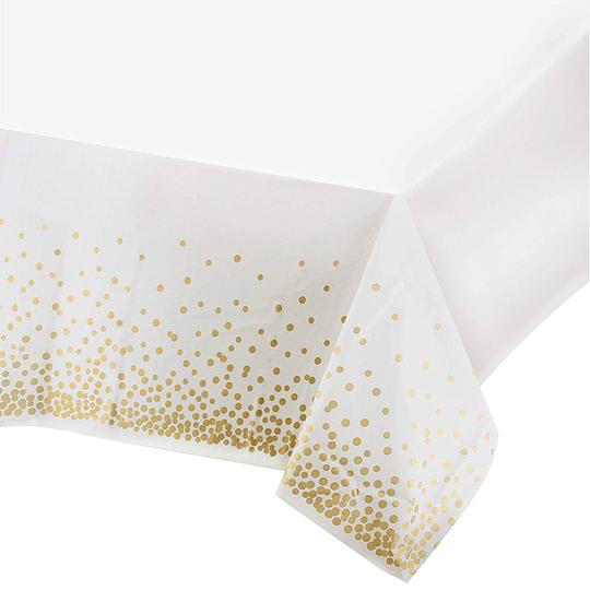 Mantel Blanco Puntos Dorados 1 Uni