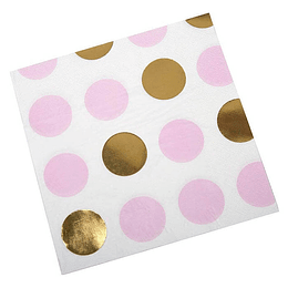 Servilleta Dots Dorado Rosa 12 Uni