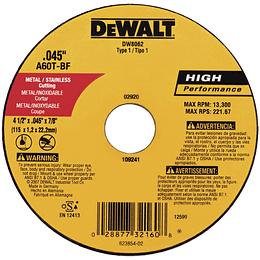 "Disco abrasivo corte Tipo 1, Diámetro 4-1/2"", Orificio del Eje 7/8"" DW8062  Z"