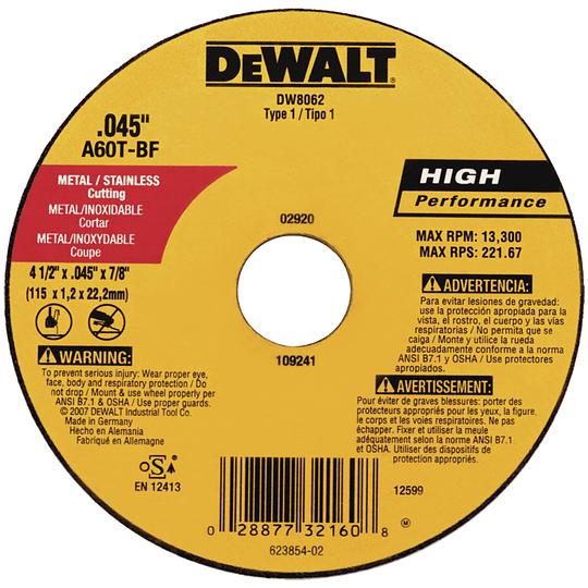 Disco abrasivo corte Tipo 1, Diámetro 4-1/2