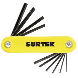 Juego de 7 llaves hexagonales en pulgadas tipo navaja Surtek ALLFNP10