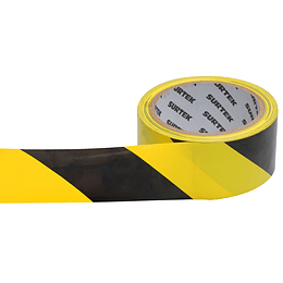 Cinta de señalización amarillo y negro 18 mt Surtek 138060
