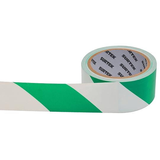Cinta de señalización verde y blanco 18 mt Surtek 138062